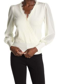 Laundry by Shelli Segal V-Neck Sweater w/ Chiffon Sleeves