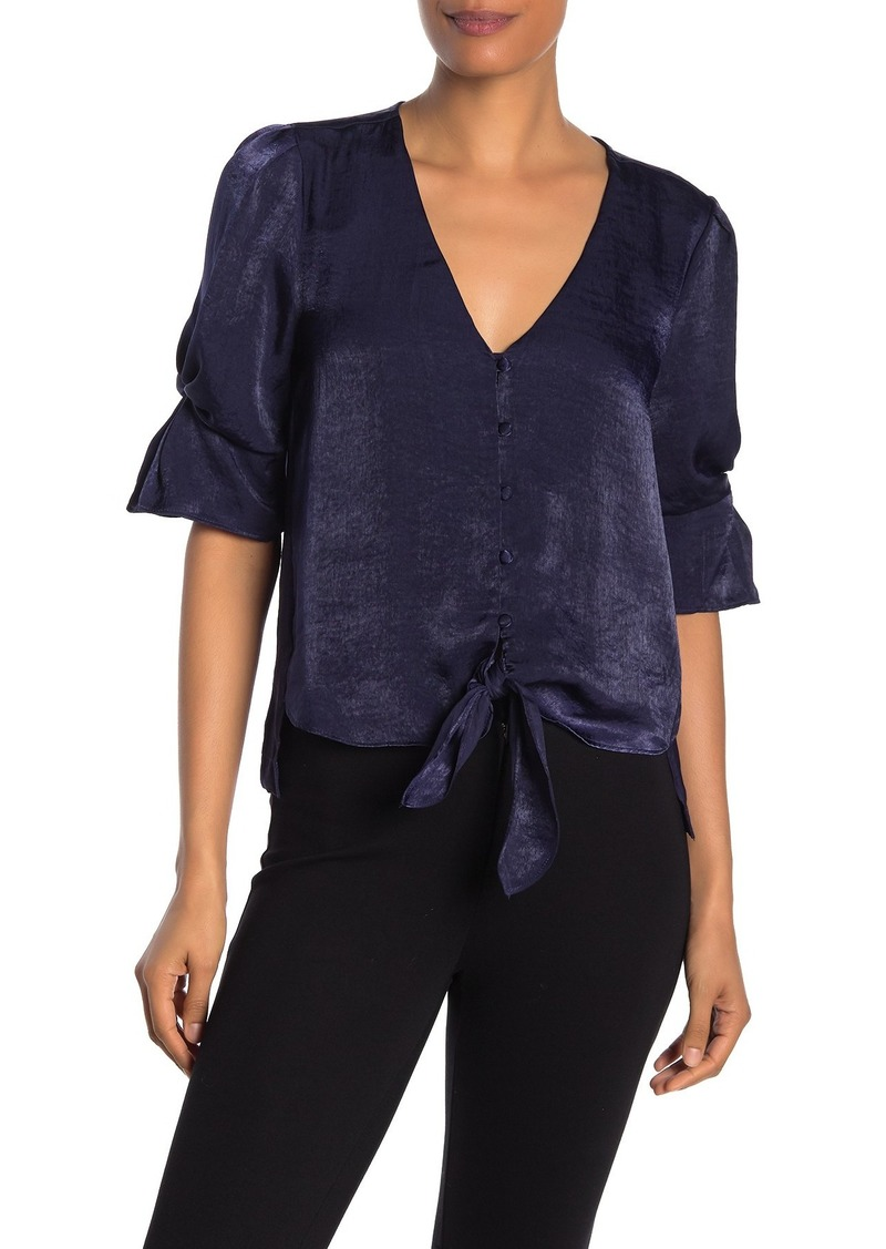 Laundry by Shelli Segal V-Neck Ruffled Tie Front Blouse
