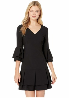 Laundry by Shelli Segal V-Neck Tiered Pleated Dress