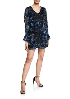 Laundry by Shelli Segal Velvet Burnout Flare-Sleeve Sheath Dress