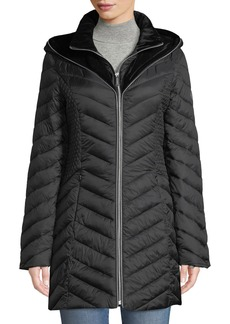 Laundry by Shelli Segal Velvet-Hood Lightweight Puffer Jacket