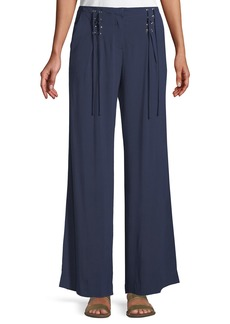 Laundry by Shelli Segal Wide-Leg Lace-Up Twill Pants