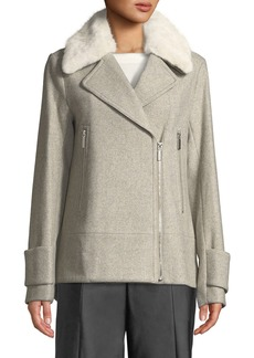 Laundry by Shelli Segal Wool-Blend Long-Sleeve Moto Jacket with Faux-Fur