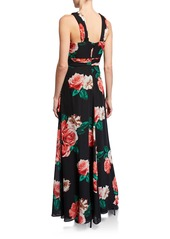 Laundry by Shelli Segal X-Front Floral Chiffon A-Line Dress