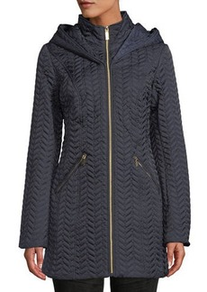 Laundry by Shelli Segal Zip-Front Quilted Mid-Length Coat w/ Hood