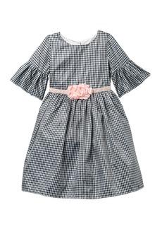 Laura Ashley Belle Sleeve Check Print Dress (Toddler & Little Girls)