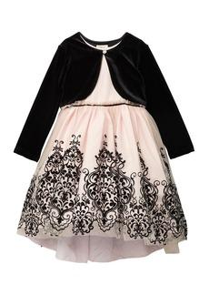Laura Ashley Cropped Jacket & Flocked Border Dress (Toddler & Little Girls)