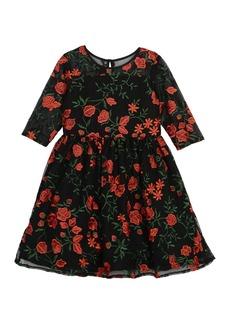 Laura Ashley Floral Embroidered Lace Dress (Toddler & Little Girls)