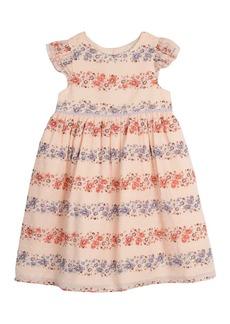 Laura Ashley Floral Stripe Clip Dot Dress (Toddler & Little Girls)