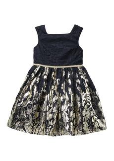 Laura Ashley Foil Lace Dress (Toddler & Little Girls)