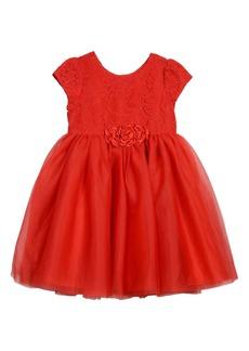 Laura Ashley Lace & Mesh Dress (Toddler & Little Girls)