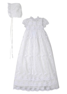 Laura Ashley Embroidered Gown with Bonnet (Baby Girls)