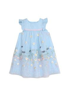 Laura Ashley London Girls Blue Ruffle Sleeve Party Dress
