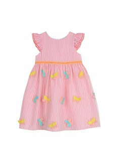 Laura Ashley London Girls Coral Ruffle Sleeve Butterfly Stripe Dress