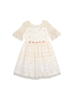 Laura Ashley Embroidered Mesh Dress