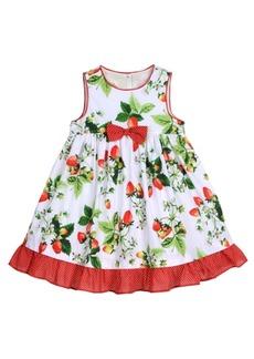 Laura Ashley London Girls Strawberry Print Garden Party Dress