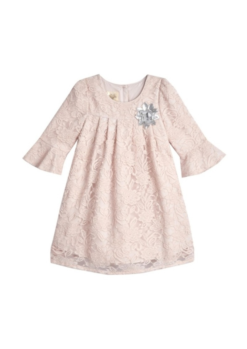 Laura Ashley Little and Toddler Girls London 3/4 Bell Sleeve Lace Overlay Dress