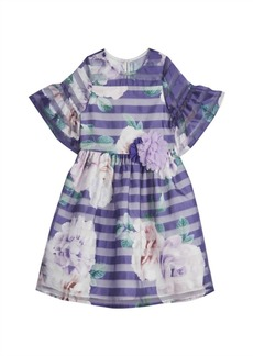 Laura Ashley Little and Toddler Girls London Floral Shadow Stripe Bell Sleeve Dress