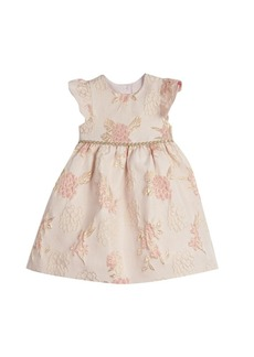 Laura Ashley Little and Toddler Girls London Flutter Sleeve Brocade Holiday Dress