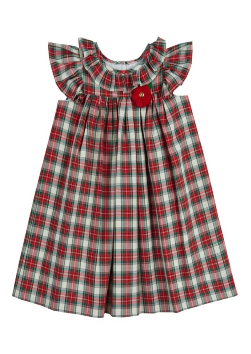 Laura Ashley Little and Toddler Girls London Flutter Sleeve Plaid Dress