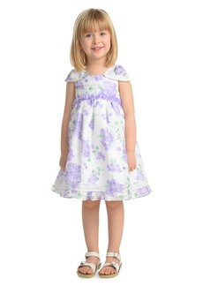 Laura Ashley Little Girl's Floral Shadow Stripe Party Dress
