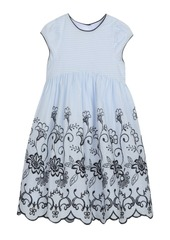 Laura Ashley London Baby Girl's Cap Sleeve Dress with Contrast Embroidery