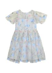 Laura Ashley London Girl's Embroidered Mesh Dress