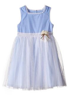 Laura Ashley London Girls' Little Chambray Dress with Mesh Skirt