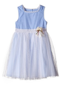Laura Ashley London Little Girls' Chambray Dress with Mesh Skirt