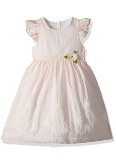 Laura Ashley London Little Girls' Cotton Dress With Embroidered Border