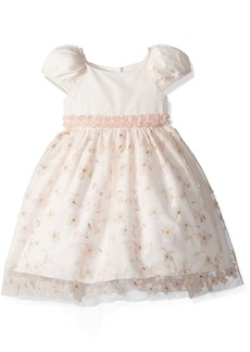 Laura Ashley London Little Girls' Embroidered Puff Sleeve Party Dress