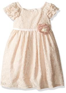 Laura Ashley London Little Girls' Lace Ruffle Sleeve Dress Off White