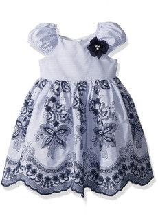 Laura Ashley London Little Girls' Puff Sleeve Dress with Embroidery