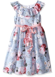 Laura Ashley London Little Girls' Ruffle Collar Floral Party Dress Multi