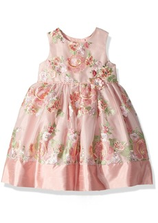 Laura Ashley London Little Girls' Sleeveless Fancy Embroidered Party Dress Multi