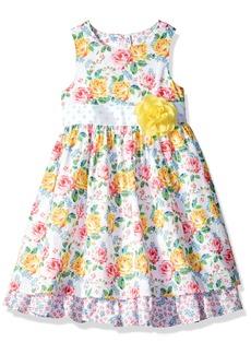 Laura Ashley London Girls' Little Sleeveless Floral Print Dress Multi