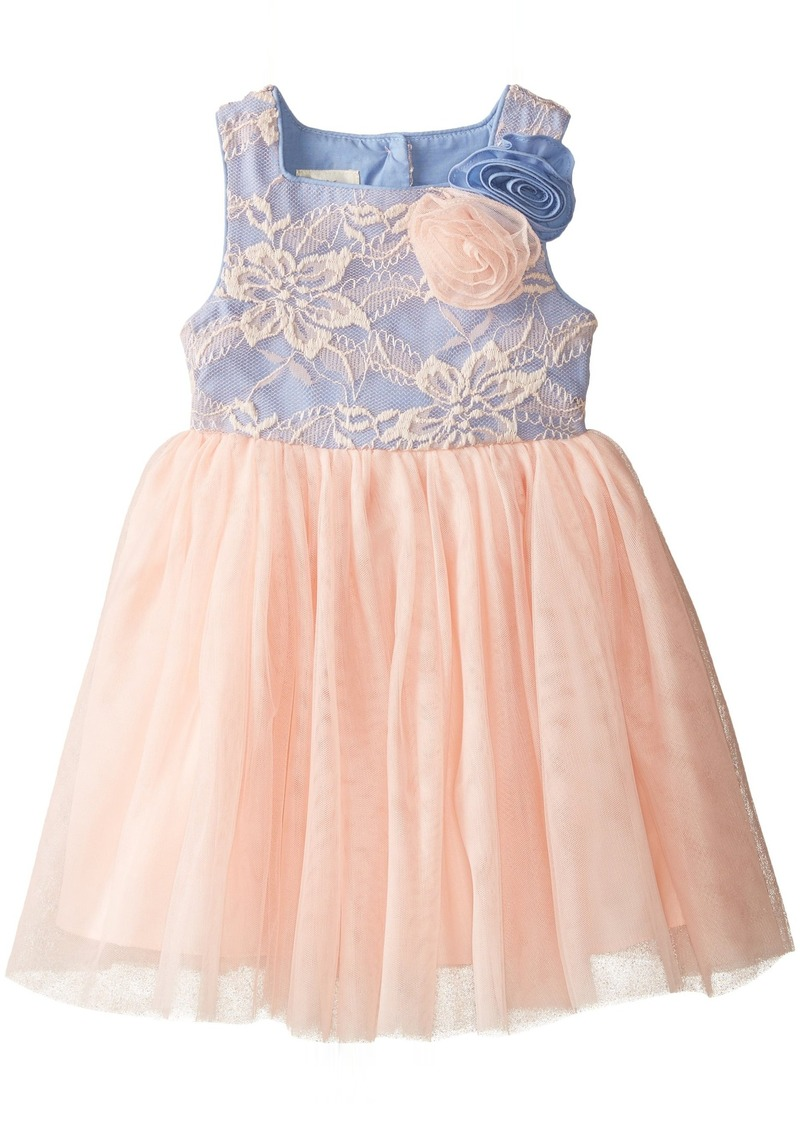 Laura Ashley London Little Girls' Toddler Mesh and Chambray Dress Multi