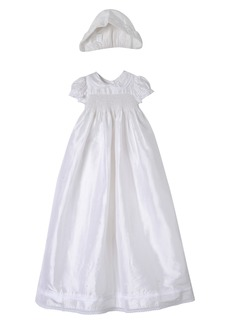Laura Ashley Smocked Shantung Gown & Bonnet (Baby Girls)