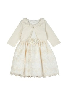 Laura Ashley Toddler Girls Embroidered Organza Dress with Knit Shrug