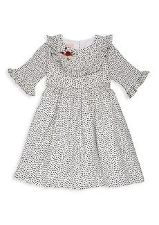 Laura Ashley Little Girl's Dot-Print Ruffled Dress