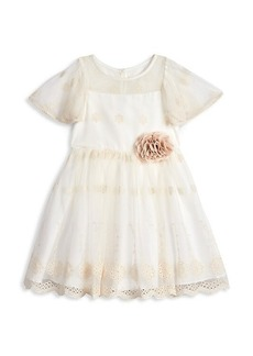 Laura Ashley Little Girl's Embroidered Mesh Dress