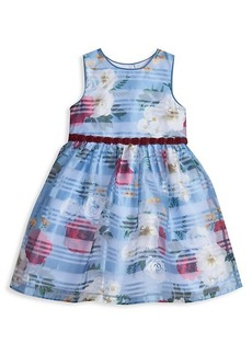 Laura Ashley Little Girl's Floral Shadow Striped Dress