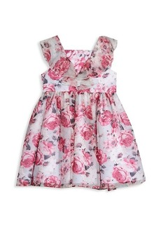 Laura Ashley Little Girl's Rose-Print Clip Dot Chiffon Dress