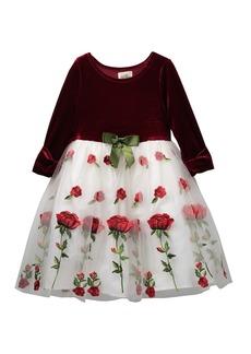Laura Ashley Mesh Floral Embroidered Velvet Party Dress (Toddler & Little Girls)