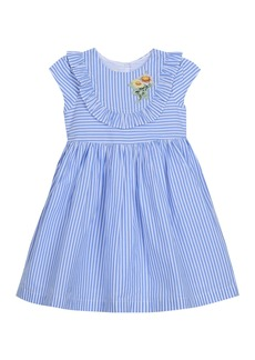 Laura Ashley Striped Floral & Ruffle Dress (Toddler & Little Girls)