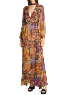 Women's Le Superbe Joni Tie Neck Long Sleeve Maxi Dress