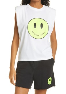 Women's Le Superbe Just Be Nice Padded Shoulder Muscle Graphic Tee