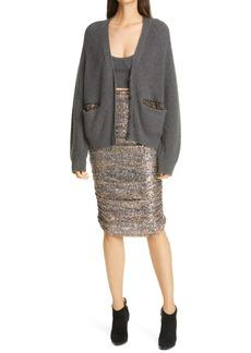 Women's Le Superbe Rockstar Snakeskin Print Ruched Sequin Skirt