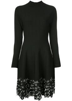 Lela Rose lace-trim sweater dress