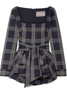 Lela Rose Belted Checked Woven Peplum Blouse